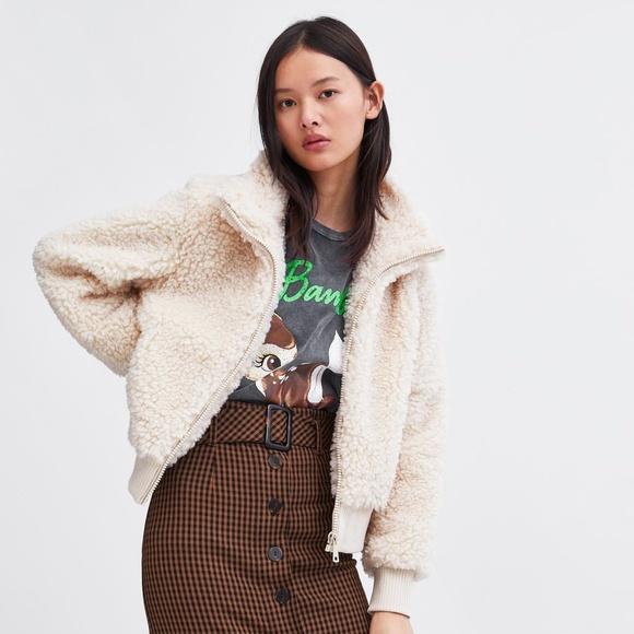 283caf27 Zara Jackets & Coats | Nwt Size S Teddy Cream Fleece Jacket Bomber ...